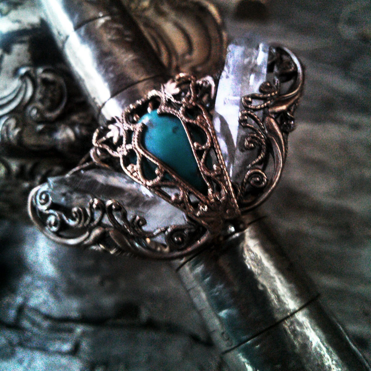 Image of Rock Crystal Turquoise Metamorphosis Ring
