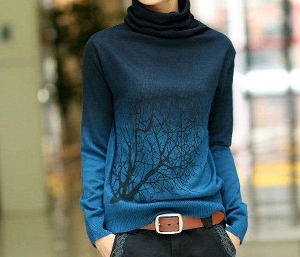 Image of Blue Ms high-necked cashmere sweater