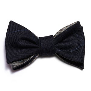 Image of Navy Wool Windowpane Ready-Tied