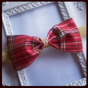 Image of Wide Tartan Pinch Bow Headband