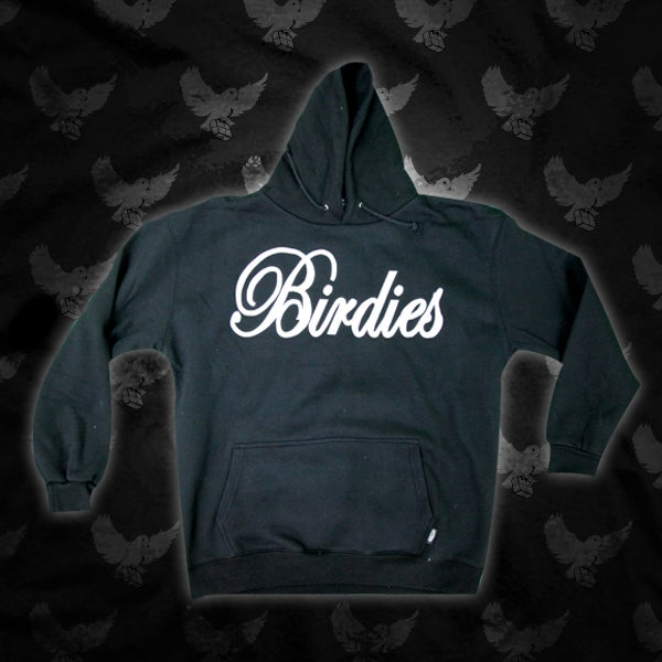 Image of Black/White Birdies Writing Hoodie