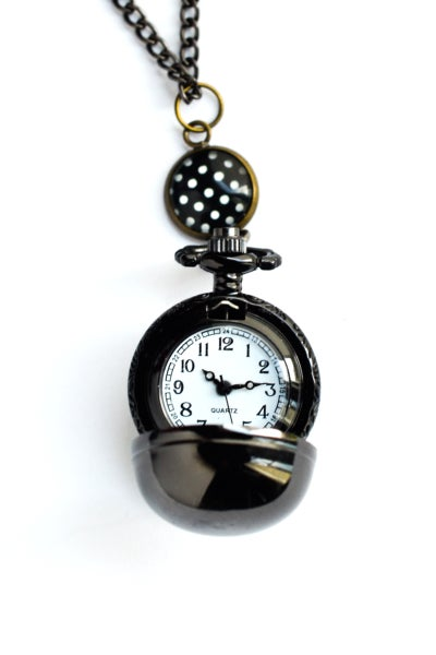 Image of Sautoir-Montre 'Lovely Pois' boule noire, illustration pois