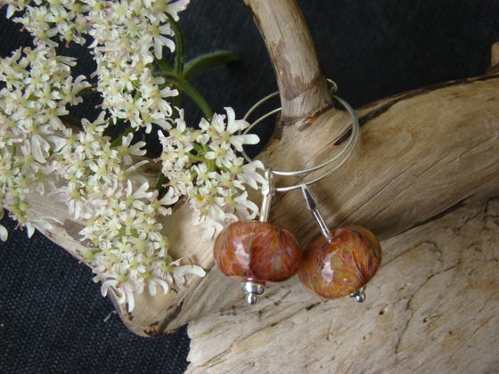 Image of Amorouscharms  Plush Peach  Large Lampwork Earrings S/S