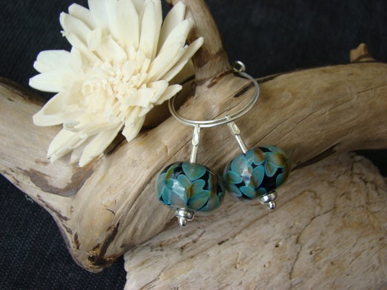 Image of Amorouscharms Flower Blue  Large Lampwork Earrings S/S