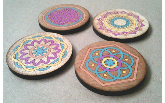Image of Diatom Inspired Wooden Coasters