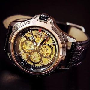 Image of Men's Steampunk Sports Wrist Watch / Fashion Unique Leather Automatic Mechanical Watch (WAT0244)