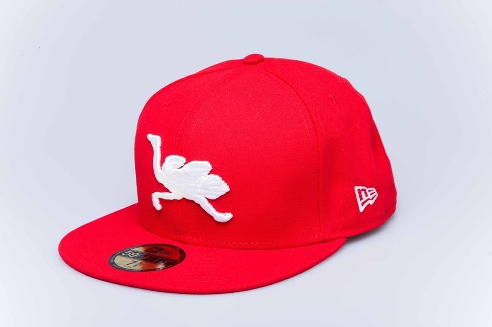 Image of OG Mascot Fitted (red w/ white logos)