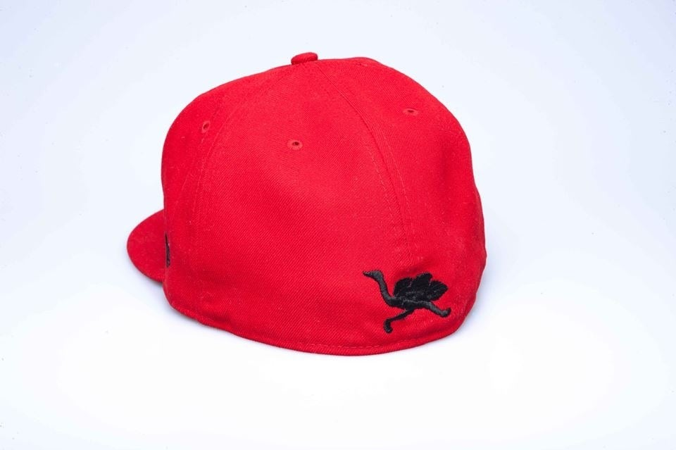 Image of OG Mascot Fitted (red w/black logos)