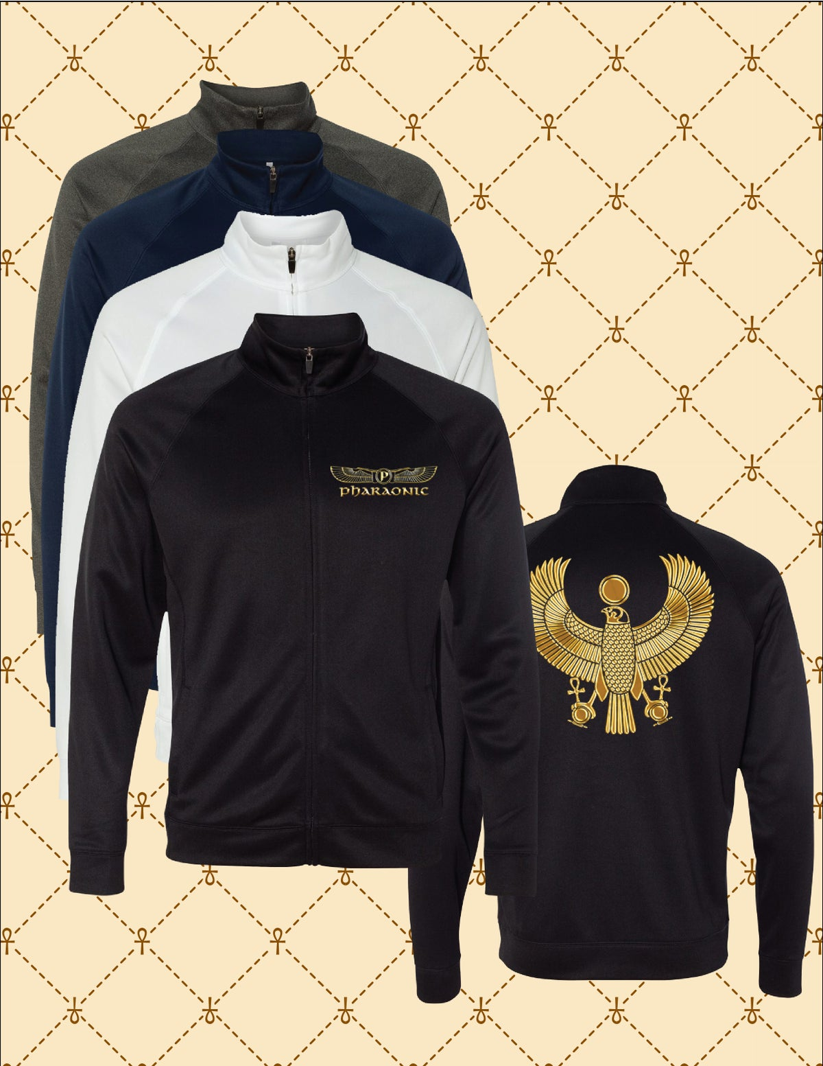 Image of MENS PERFORMANCE GOLD/SILVER FOIL HERU TRACK JACKET