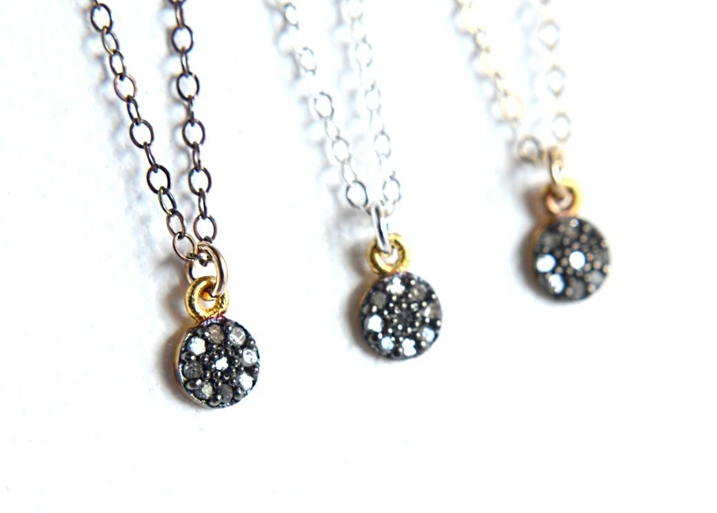 Image of Tiny pave diamond necklace mixed metal