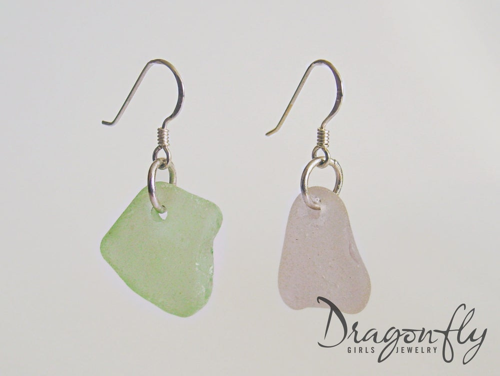 Image of Sterling Silver Sea Glass earrings