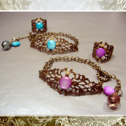 Image of Antiqued Sweet Tart Bracelet & Ring Set