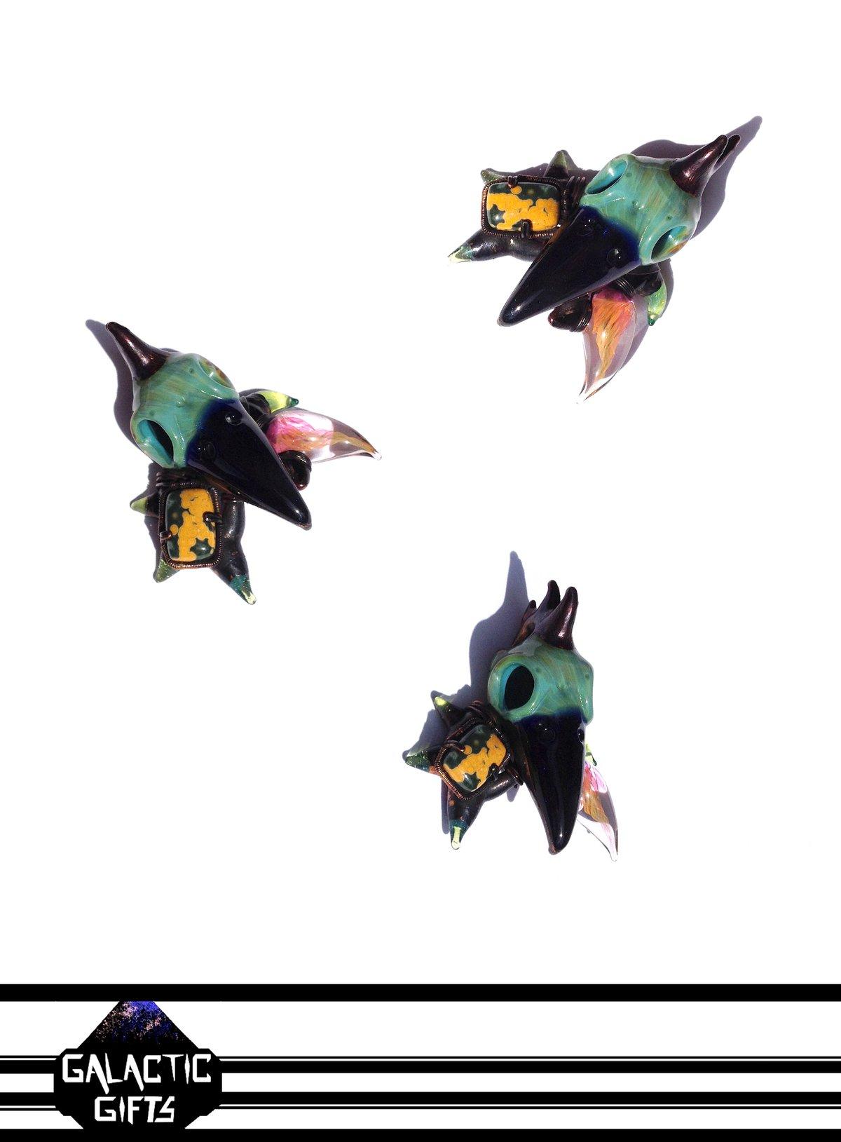 Image of Brandon Martin + Amanda Sondra + Calvin Mickle Bird Skull Collab Pendant