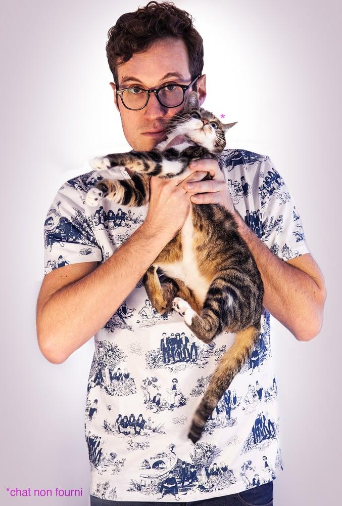 Image of T-shirt Homme - Rockstars sur toile de Jouy Bleu