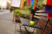 Image of apple, bench
