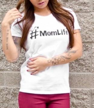 Image of #momlife logo 100% preshrunk cotton basic tee