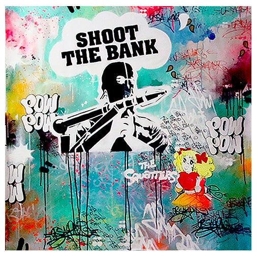 Image of SHOOT THE BANK EXPO SILENCE IS A LIE BERLIN 2012 130x130 cm