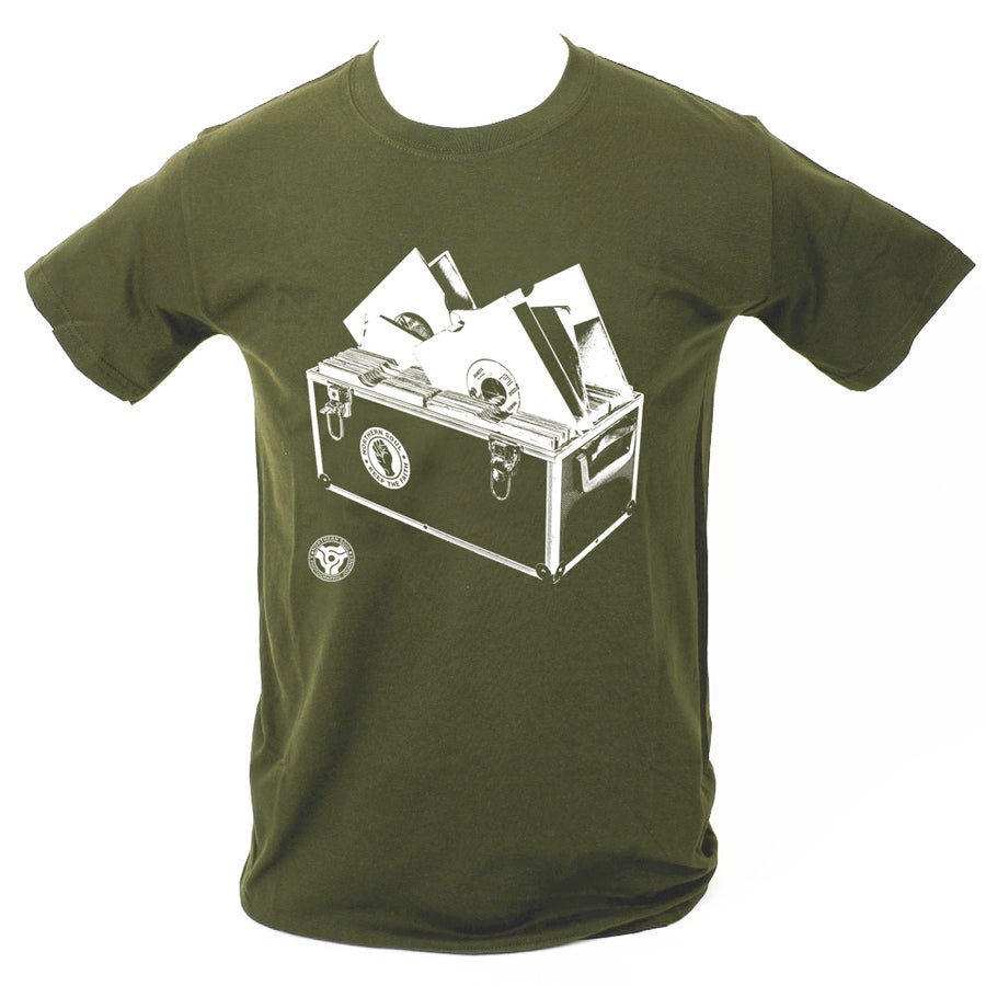 Image of 'Record Box' T-Shirt - Military Green.
