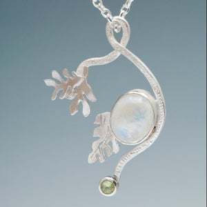 Image of Botanical Seraphina Series: Rainbow Moonstone Peridot Pendant
