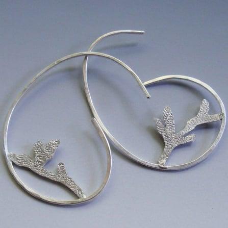 Image of Botanical Branch Hoop Earrings