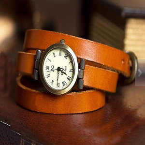 Image of Women's Leather Vintage Wrap Watch (WAT00110-1)