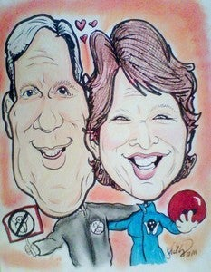 Image of DETAILED COLOR COUPLES CARICATURE 11x14