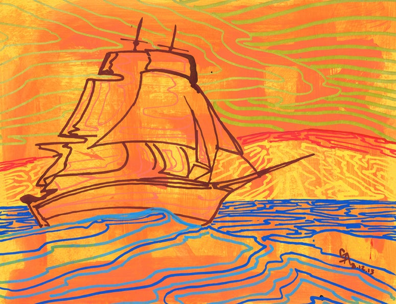 Image of Orange Clipper Ship - SOLD