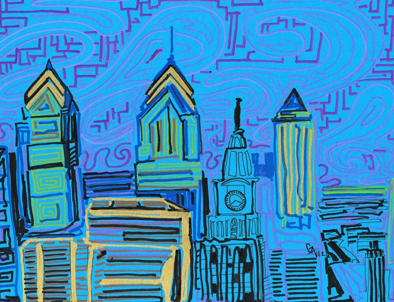 Image of Philadelphia Blue & Pink - SOLD