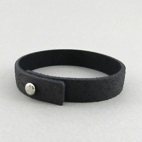 Image of Unisex Distressed Black Leather bracelet