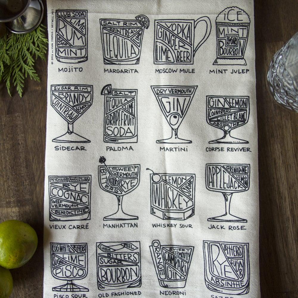 Image of Cocktail Diagram Tea Towel