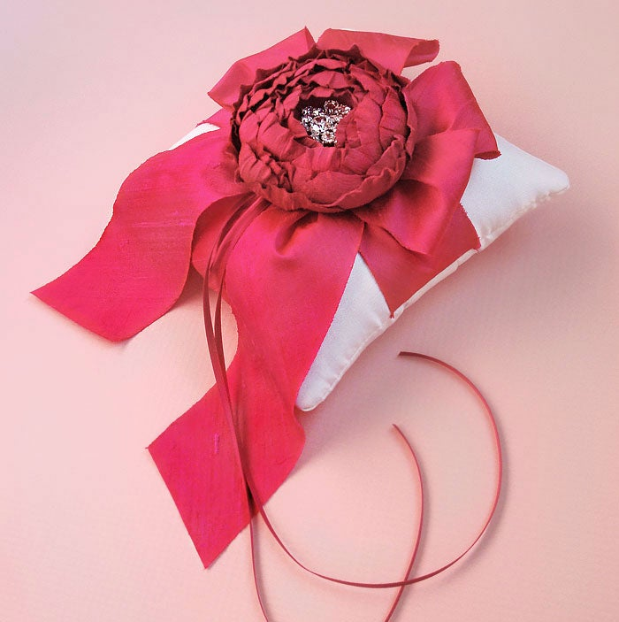 Image of White and Fuchsia Silk Dupioni Catala Bloom Ring Bearer Pillow