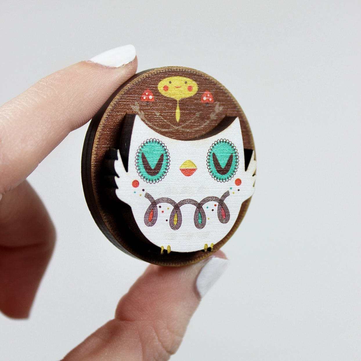 Image of Crowded Teeth - Owl Brooch
