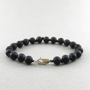 Image of Matt hematite and lava bead bracelet