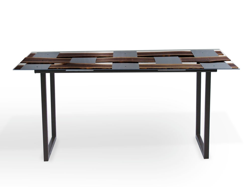 Image of Wood + Metal Weave Dining Table