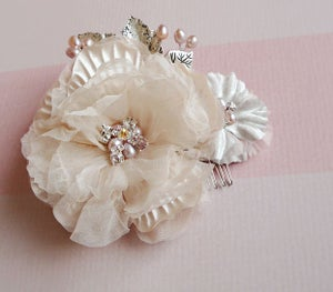 Image of Double Champagne Blush Silk Floral Bridal Hair Comb Fascinator Freshwater Pearl Silver Leaves