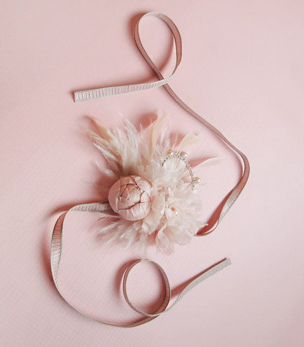Image of Soft Blush Floral and Feather Bridal Cuff - Cocktail Cuff