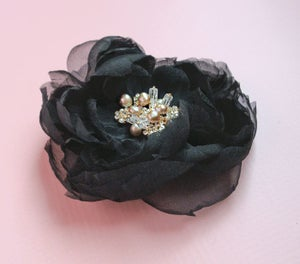 Image of Black Silk Chiffon Clip Fascinator with Gold Rhinestone Pearl and Gemstone Beading