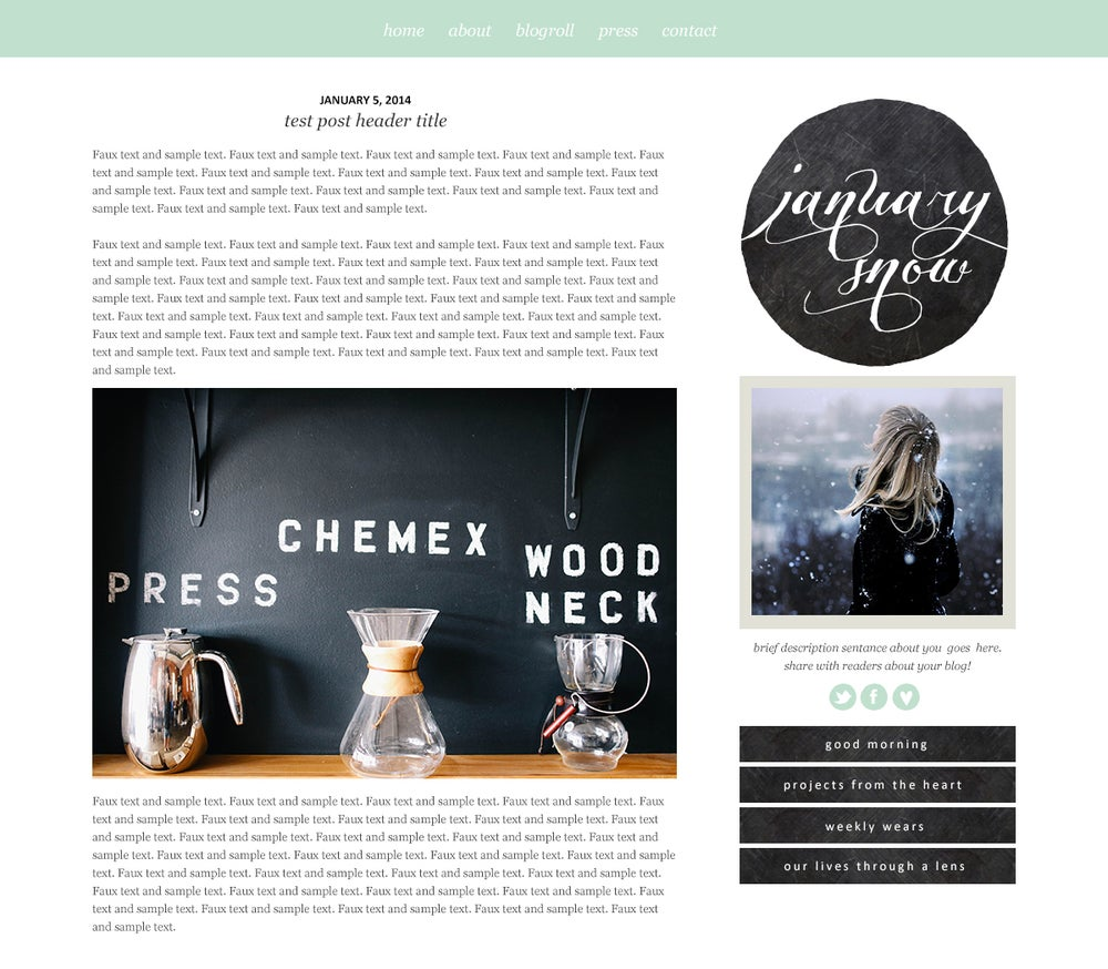 January Snow - Blogger Template / Maiedae Templates