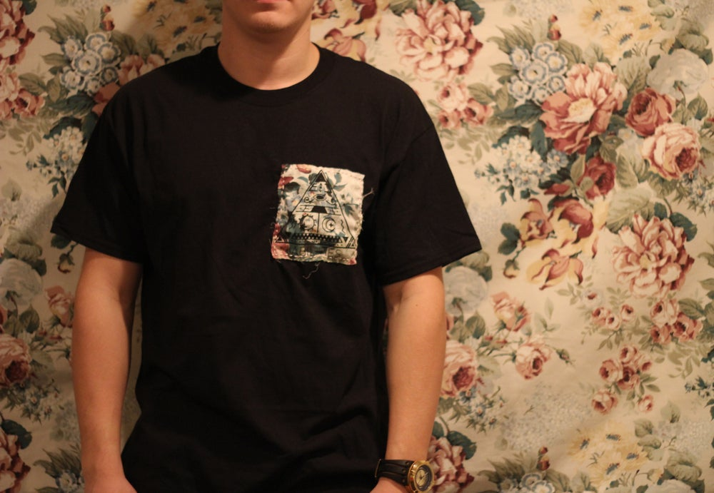 Image of Floral Patch- Black Pocket Tee