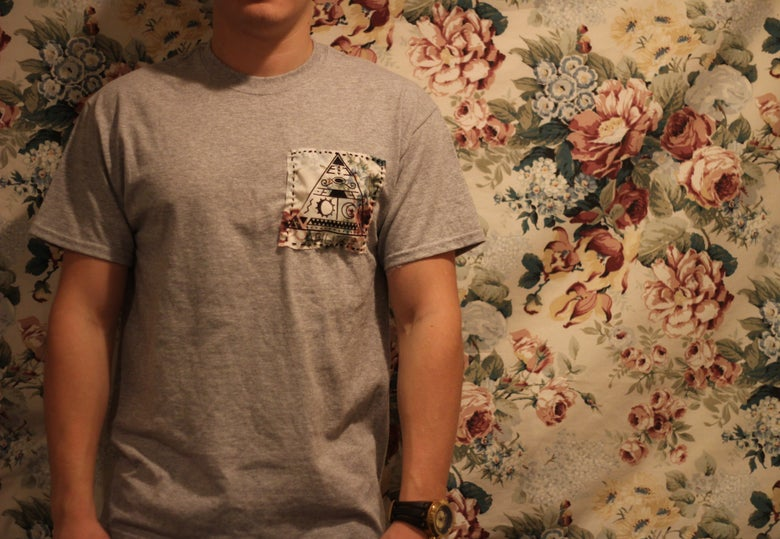 Image of 'Floral Patch'- Gray Pocket Tee