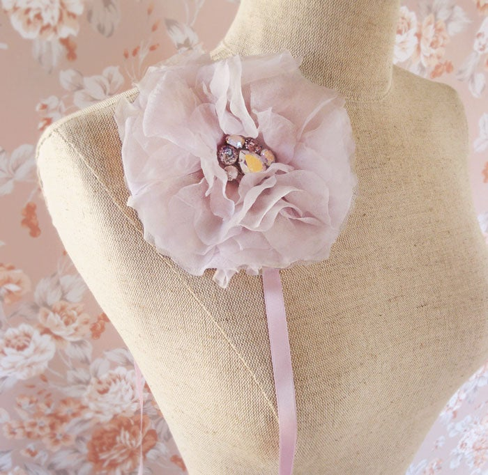Image of Lavender Flower Fascinator Bridal Headband with AB Swarovski Light Amethyst Rhinestone Beaded