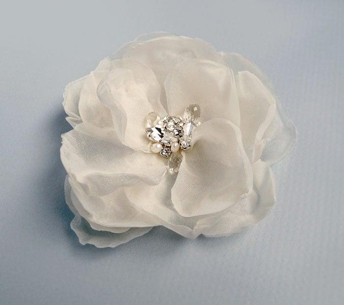 Image of Fiona Ivory Silk Flower Fascinator with Rhinestone Pearl and Gemstone