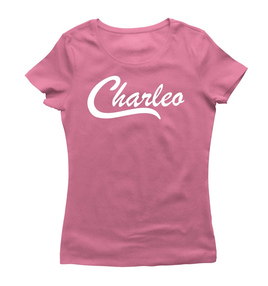 Image of Ladies Original Charleo Tee  Pink/White