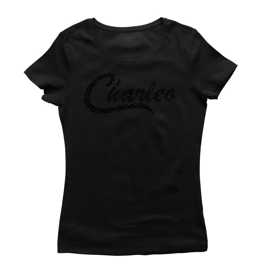 Image of Ladies Original Charleo Tee   Black/Ebony Bling