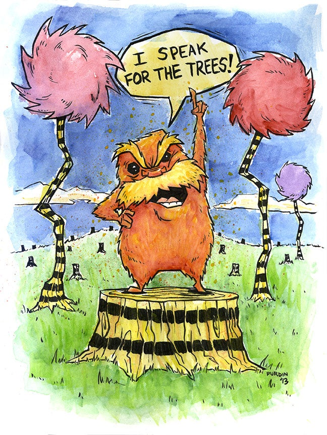 Image of Lorax Watercolor/Ink