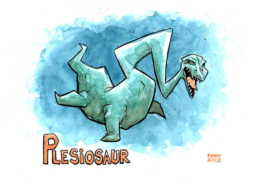 Image of Plesiosaur Watercolor/Ink painting