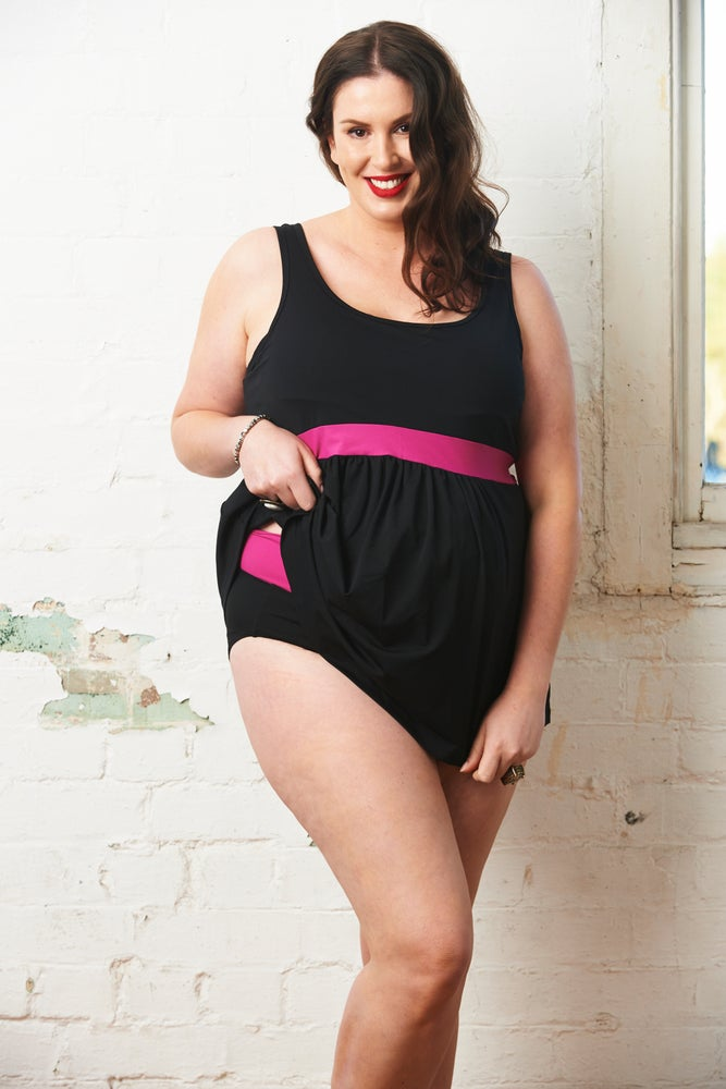 Image of Plus Maternity 2 Piece Tankini - Black & Fuchsia