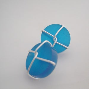 Image of blue resin and sterling wired cufflinks