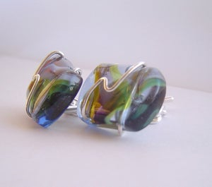 Image of glass and sterling silver wired cufflinks