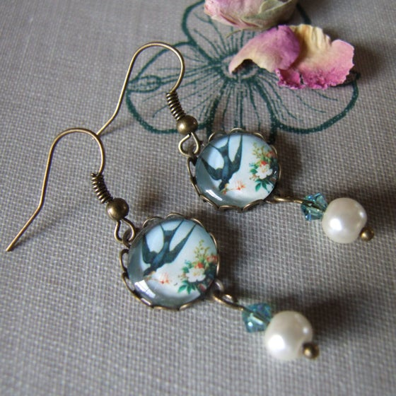"Image of ""FLYING FOR LOVE"" Glass Cabochon Earrings"
